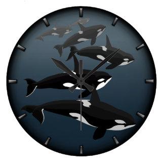 Regalos de la ballena de la decoración de la orca  reloj redondo grande