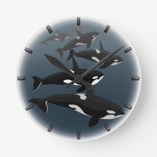 Regalos de la ballena de la decoración de la orca  reloj redondo mediano