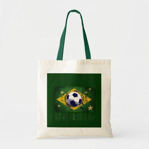 Regalos de la bandera del fútbol del Brasil del Gr Bolsa Tela Barata