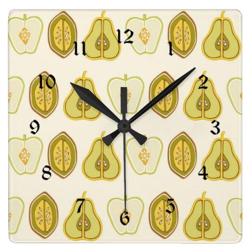 Regalos de la cocina de los aguacates de las peras relojes de pared