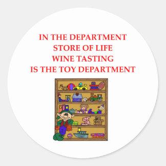 Regalos de la degustación de vinos pegatina redonda