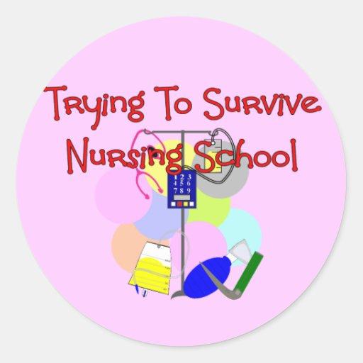 Regalos de la enfermera de estudiante etiquetas redondas