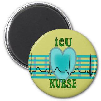 Regalos de la enfermera de ICU, QRS y diseño del c Imán Redondo 5 Cm