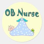 Regalos de la enfermera de OB, bebé en Pegatina Redonda