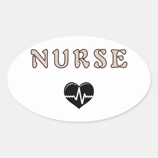 Regalos de la enfermera pegatina ovalada