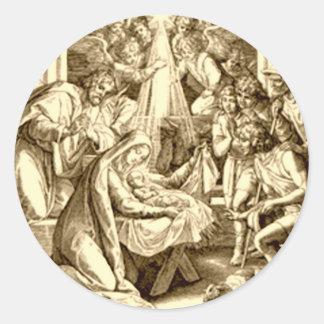 Regalos de la escena de la natividad para el navid pegatina redonda