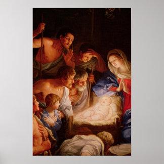Regalos de la escena de la natividad para el navid póster