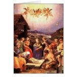 Regalos de la escena de la natividad para el navid tarjeta