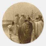 Regalos de la escena de la natividad para el etiquetas redondas