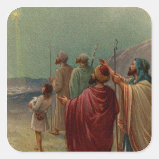 Regalos de la escena de la natividad para el calcomanias cuadradas