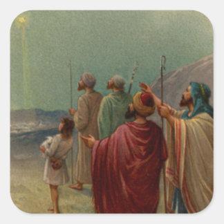 Regalos de la escena de la natividad para el pegatina cuadrada
