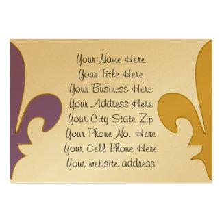 Regalos de la flor de lis de la púrpura y del oro tarjetas de visita grandes