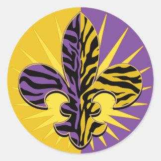 Regalos de la flor de lis del tigre pegatina redonda
