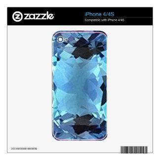 Regalos de la gema del Aquamarine de la aguamarina Skins Para iPhone 4