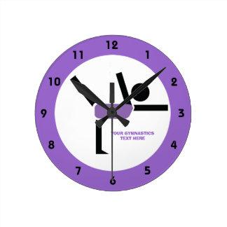 Regalos de la gimnasia, personalizado del reloj redondo mediano