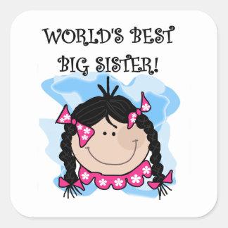 Regalos de la hermana grande del mundo del pelo pegatina cuadrada