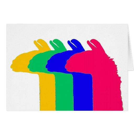 Regalos de la llama: 4 llamas en gráfico de 4 tarjeta pequeña