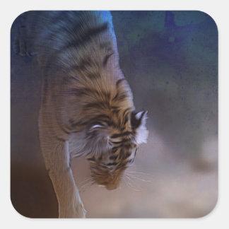 Regalos de la luna del tigre pegatina cuadrada