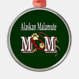 Regalos de la mamá del Malamute de Alaska Adorno Redondo Plateado
