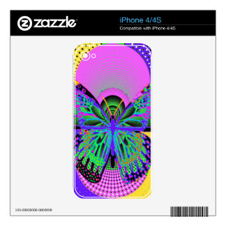 Regalos de la mariposa del arte moderno por calcomanías para el iPhone 4S