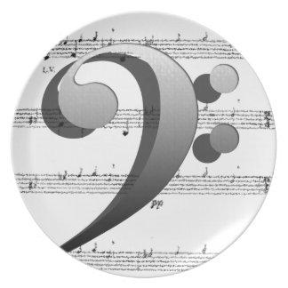 Regalos de la música del Clef de la música de la d Plato De Cena