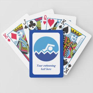 Regalos de la natación, nadador en un baraja de cartas