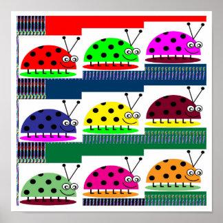REGALOS de la opción de señora Bug Insect Colorful Posters