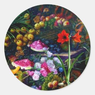 Regalos de la pintura de la cosecha de la fruta y pegatina redonda