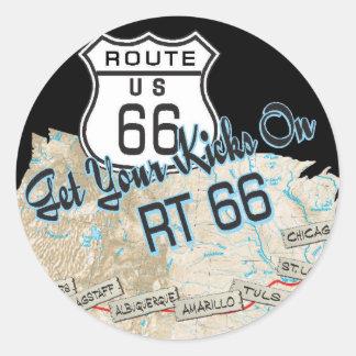 regalos de la ruta 66 pegatina redonda