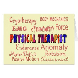 Regalos de la terminología del terapeuta físico tarjeta de felicitación