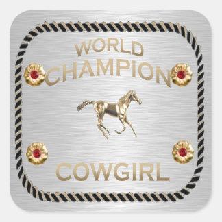 Regalos de la vaquera del campeón del mundo calcomanias cuadradas