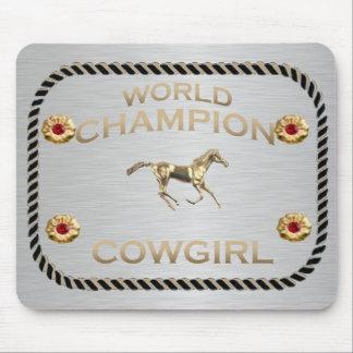 Regalos de la vaquera del campeón del mundo alfombrillas de raton