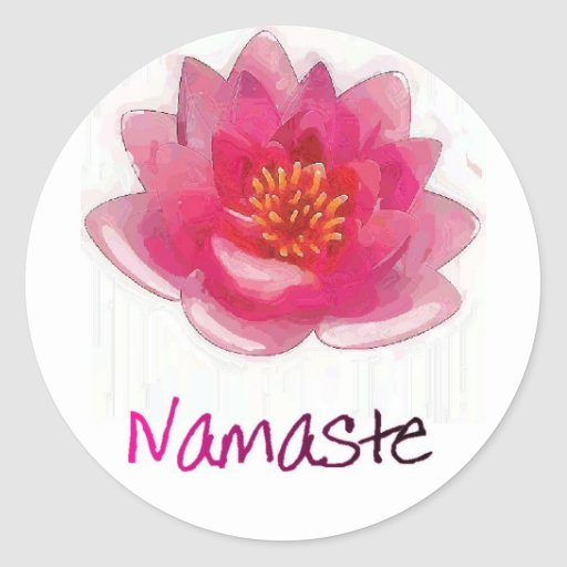 """Regalos de la yoga de """"Namaste"""" de la flor de Lotu Pegatinas Redondas"""