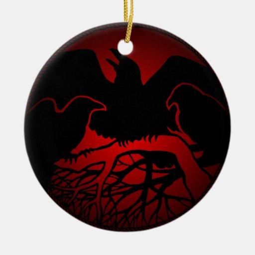 Regalos de las decoraciones del cuervo del negro adorno redondo de cerámica