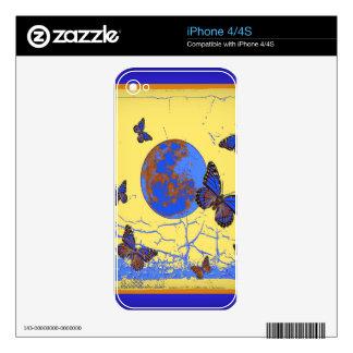 Regalos de las mariposas de la luna azul por iPhone 4 calcomanía
