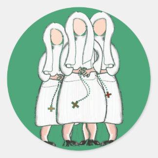 Regalos de las monjas diseño de tres hermanas enc pegatina