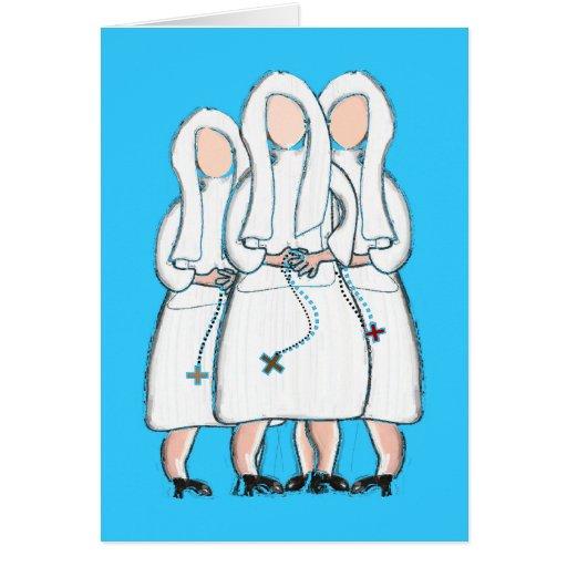 """Regalos de las monjas diseño de """"tres hermanas enc tarjeton"""