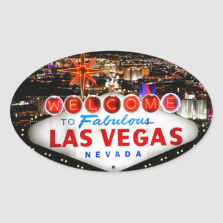 Regalos de Las Vegas Calcomania Óval Personalizadas