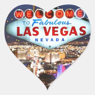 Regalos de Las Vegas Pegatina En Forma De Corazón