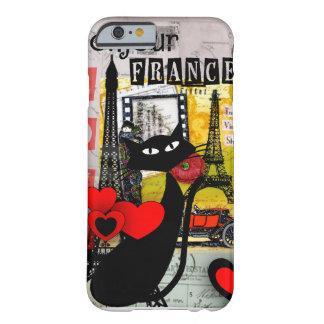Regalos de los amantes del gato de la torre Eiffel Funda De iPhone 6 Barely There