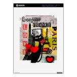 Regalos de los amantes del gato de la torre Eiffel Pegatina Skin Para iPad 3