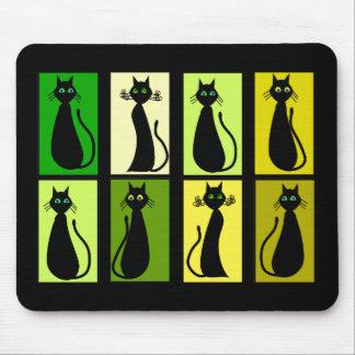 Regalos de los amantes del gato negro tapete de ratón