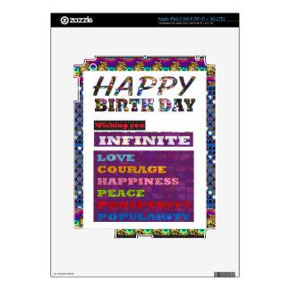 Regalos de los saludos de HappyBirthday del feliz iPad 3 Pegatinas Skins