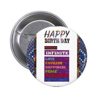 Regalos de los saludos de HappyBirthday del feliz Pin Redondo 5 Cm