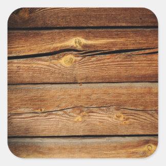 Regalos de madera rústicos del país del diseño de pegatina cuadradas personalizadas