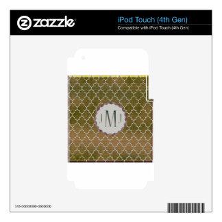 Regalos de Monogramed del Quatrefoil-Oro y de la p iPod Touch 4G Skin