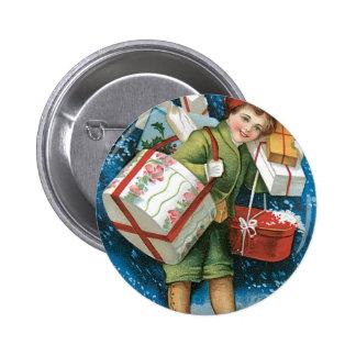 Regalos de Navidad del vintage Pin Redondo De 2 Pulgadas