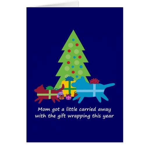 Regalos de Navidad divertidos del perro y del gato Tarjeta De Felicitación