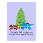 Regalos de Navidad divertidos del perro y del gato Tarjeta Postal