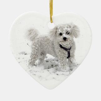 Regalos de Navidad para el perro blanco lindo de Adorno Navideño De Cerámica En Forma De Corazón